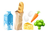 Set of grocery food products for healthy eating. Organic foods. - 192472634
