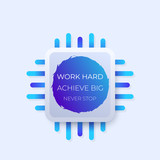 work hard, achieve big, never stop, poster with motivational quote - 192473262