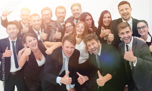 successful business team showing thumbs up - 192475212