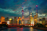 Shanghai skyline at dusk with Garden Bridge, China
