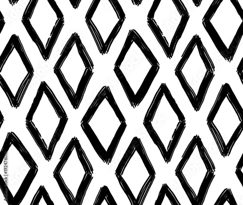 Materiał do szycia Abstract geometric pattern. Black and white rhombus background