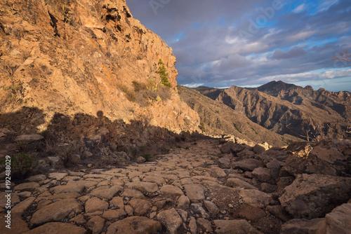 Aluminium Canarische Eilanden Trekking path in Tenerife mountain landscape.