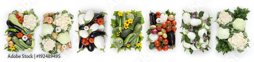 Fotobehang Verse groenten vegetables top view basket isolated on white background, web banner and copy space template