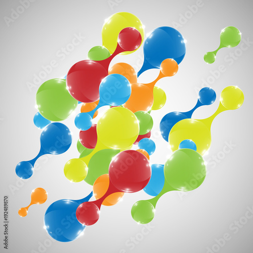 Poster Geometrische dieren Abstract colorful shapes, vector.
