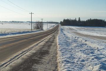 Winter road in rural America.