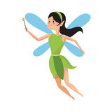 Fairy Flying Cartoon Icon  Illustration Graphic Design Wall Sticker
