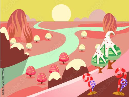 Papiers peints Jaune de seuffre illustration of fantasy sweet food land