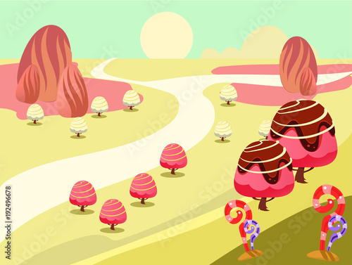 Staande foto Zwavel geel illustration of fantasy sweet food land