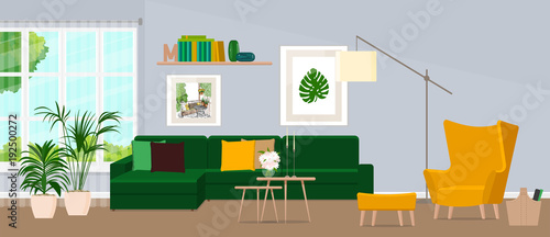 The design of the living room with fashionable furniture. Vector illustration of a flat style.