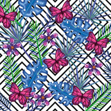 tropical garden with butterflies over abstract background vector illustration design leaves and flowers, summer and geometric pattern - 192500873