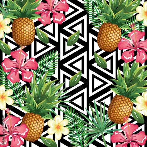tropical flower and pineapple with abstract background vector illustration design leaves and flowers, summer and geometric pattern - 192500812