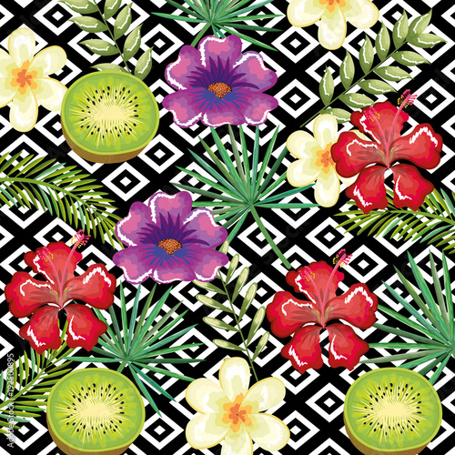 tropical flower and kiwi with abstract background vector illustration design leaves and flowers, summer and geometric pattern - 192500895