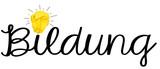 Schriftzug Bildung mit Glühbirne - 192506267