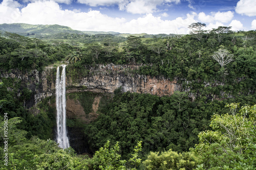 Dramatic waterfall of Chamarel in the national park inland of Mauritius Island - 192506294