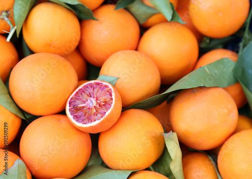 oranges at grocery shop - tarocco blood orange - sanguine orange