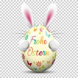 Frohe Ostern Osterei bunt bemalt mit Osterhase auf transparentem Hintergrund - 192512049