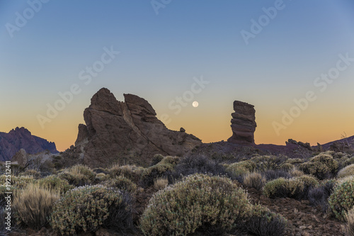 Evening view of Los Roques de Garcia in the Teide national park