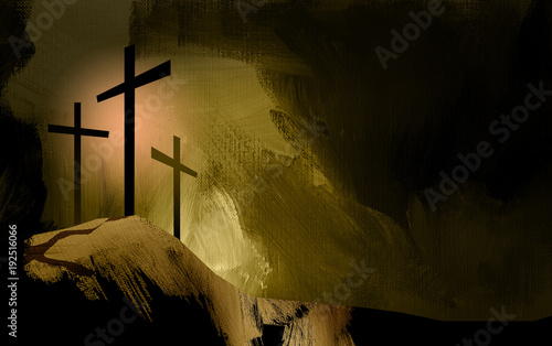 Graphic Christian crosses of Jesus landscape / Simple, dramatic composition of the scene of Christ's ultimate sacrifice. Beautiful as Easter or general worship art. © gdarts