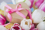 Pink Ribbon Gift and fresh Tulips