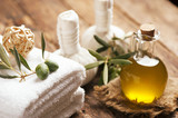 Olive oil soap and bath towel. - 192519049