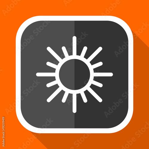 Sun vector icon. Flat design square internet gray button on orange background.