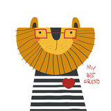 Cartoon lion with lettering. Vector hand drawn illustration. - 192521253