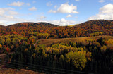 Aerial of colorful mountains during fall in Quebec