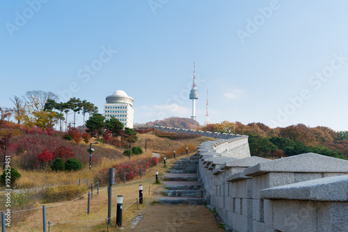 Foto op Plexiglas Seoel Seoul Tower with yellow and red autumn maple leaves at Namsan mountain in South Korea..