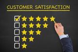 Customer Satisfaction on Chalkboard Background - 192536684