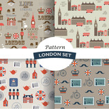 set of  London retro vector seamless patterns - 192538438