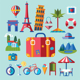 set of flat icons for summer holidays - 192538449