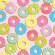 Pastel Color  Seamless Pattern  Donuts Sticker
