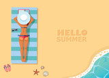 vector banner template with top view of the beach - 192539042