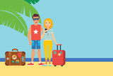 vector illustration of  touristic couple on tropical island - 192539079