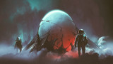 sci-fi horror scene of two astronauts found the mysterious alien egg, digital art style, illustration painting - 192540028
