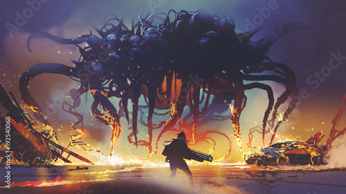 fight-scene-between-the-human-and-giant-monster-the-man-battling-alien-at-night-digital-art-style-illustration-painting