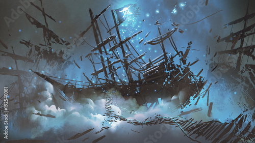 wrecked-ships-with-pirate-skull-flag-filled-with-particles-and-dust-floating-in-the-night-sky-digital-art-style-illustration-painting