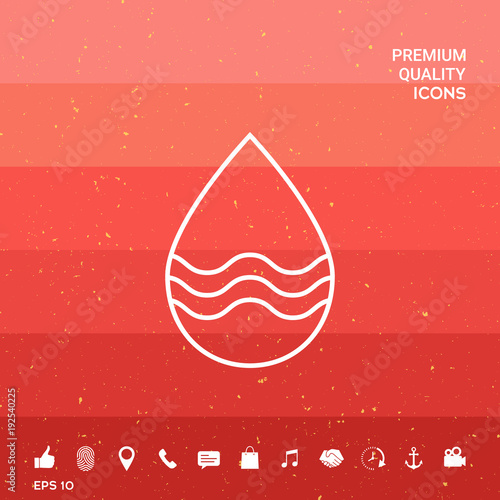 Drop line icon with waves