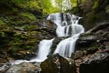 Waterfall Shypit, cascade in Pylypets in the autumn forest. Carpathian Mountains, Zakarpatska oblast, Ukraine. - 192546008
