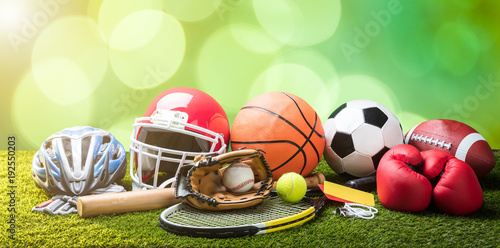 close-up-of-various-sport-equipments-on-pitch