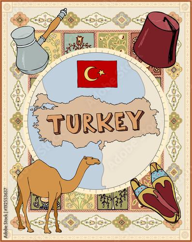 Fototapeta stylized retro map turkey Cezve turkish shoes headdress cap fez camel dromedary