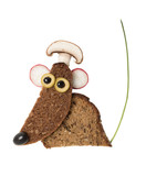 Funny mouse made with black bread in cook hat - 192557263