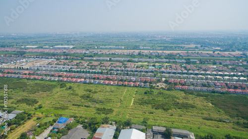 Wall mural top view village, Aerial city view from flying drone , Thailand. top view landscape