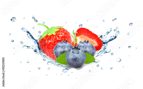 strawberry and blueberry water splash isolated on white - 192559810