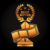 gold award trophy with laurel best actor strip film movie vector illustration black background - 192567257