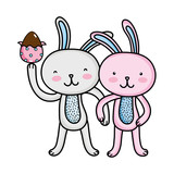Rabbit Couple  Hands Together And Egg Easter Wall Sticker