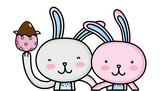 Happy Rabbit Couple Together  Egg Easter Wall Sticker