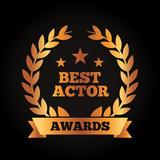 best actor award wreath laurel ribbon vector illustration black background