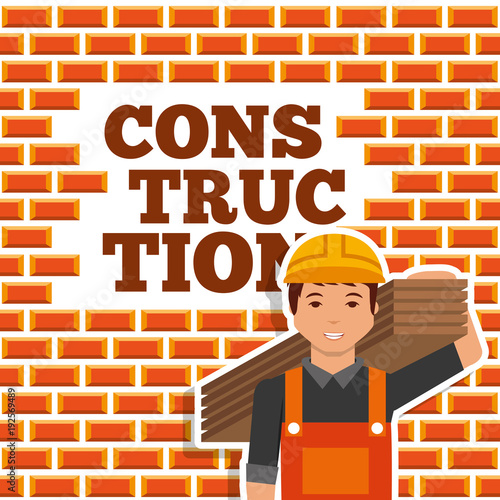 construction worker holding wooden board wall brick vector illustration