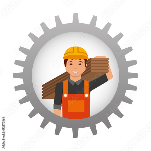 construction worker holding wooden inside gear vector illustration